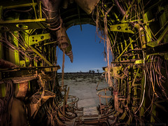 Inside out (Nocturnal Bob) Tags: boeing b52 stratofortress tail fuselage wreckage junkyard scrapyard boneyard abandoned desert protomachines led8 light painting long exposure sony a7r voigtlander super wide heliar 15mm f45 aspherical iii lens vm