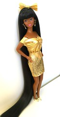 Girly n' Gold. (dolldudemeow24) Tags: barbie jewel hair mermaid black african american version gold glitter stars fashion clothes sewing 90s mattel dolls 2018