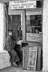 The shop (bag_lady) Tags: monk thikseymonastery blackwhite ladakh india theshop shopping
