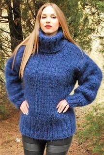 Blue heavy wool turtleneck