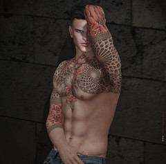 - moi - (kes.myas) Tags: tattoo catwa notfound secondlife sexy sl sensual expression emotion erotic man men male shirtless pose poses passion posing