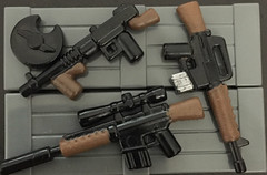Fallout Styled guns (Robbie .L) Tags: lego m110 tommy gun m16 assault rifle fallout 3 4 wooden military painted custom