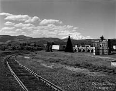 Mount Hood and Tracks, Pine Grove (Gary L. Quay) Tags: pinegrove oregon hoodriver railroad tracks rails film rollei hc110 sinar gary quay garyquay 4x5 caltar calumet mounthood mount hood mountain