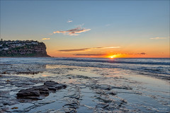 And lo, there is light! (JustAddVignette) Tags: algae australia bunganbeach clouds dawn headland landscapes newsouthwales northernbeaches ocean outgoingtide rocks seascape seawater sky sun sunrays sunrise sydney water waves