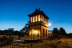 The Night Shift (sullivan1985) Tags: wc wctower waldwick mainline railroad railway train rail tower interlocking track night bluehour moon waxingcrescent nj newjersey bergencounty historic restored erierailroad