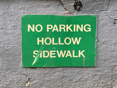Hollow Sidewalk (Restless Eye) Tags: newyorkcity ny usa hollow sidewalk wall sign green