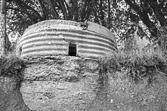 WWII Pillbox (cmw_1965) Tags: ww2 wwii world war two gun emplacement pillbox pill box coastal fortification crumbling abandoned st marys well bay sully lavernock vale glamorgan jurassic south wales coast black white monochrome bw military
