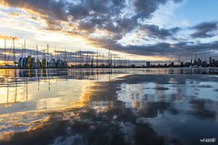 Blue And Gold (red stilletto) Tags: stkilda stkildamelbourne stkildapier stkildabeach marina stkildamarina sunset autumn reflection reflections boat boats cloud clouds