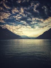 Home#14 (ckandera) Tags: brienzersee eveningsun blurry iphone mountains berneroberland landscape lake
