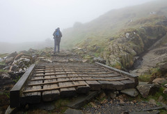 bridge over Pyg Trail, Snowdon (dgmann11) Tags: wales snowdonia mist fog walker rocks mountains timber