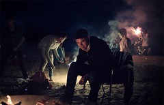 Sparklers at night in the harbor (TheeErin) Tags: keweenaw eagle harbor yooper patharmon pat harmon beach july4 nightshot sparklers eagleharbortownship michigan unitedstates usa people kids bonfire running upperpeninsula