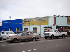Why buy new? (rickele) Tags: eurekacalifornia humboldtcounty us101 usroute101 highway101 usedcars chevyelcamino chevrolet fordf150 pickuptruck secondhandstore