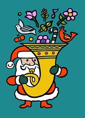 Santa with tuba (artistles77) Tags: cartoon postcard santa tuba christmas music illustration
