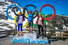 The ladies enjoying more Olympic rings at the top of the Peak to Peak gondola in Whistler.