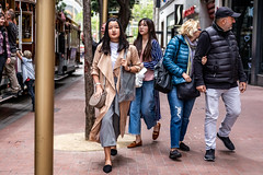 San Francisco 2018 (burnt dirt) Tags: sanfrancisco california vacation town city street road sidewalk crossing streetcar cablecar tree building store restaurant people person girl woman man couple group lovers friends family holdinghands candid documentary streetphotography turnaround portrait fujifilm xt1 color laugh smile young old asian latina white european europe korean chinese thai dress skirt denim shorts boots heels leather tights leggings yogapants shorthair longhair cellphone glasses sunglasses blonde brunette redhead tattoo pretty beautiful selfie fashion japanese puffyjacket stripes hat pink