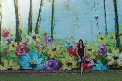 Amongst the Flowers (gina_blank) Tags: streetphotography edmonton yeg city urban architecture buildings outdoor outdoors art publicart wallart mural flowers portrait woman female lady ruleofthirds painting igwallsofyeg