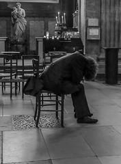 patrickrancoule-1131 (Patrick RANCOULE) Tags: france sdf chaise froid hiver homme mendiant noiretblanc pauvre église