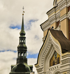 A9776TALLc (preacher43) Tags: tallinn estonia toompea hill upper old city alexander nevsky cathedral lutheran st mary virgin steeple building architecture history sky clouds