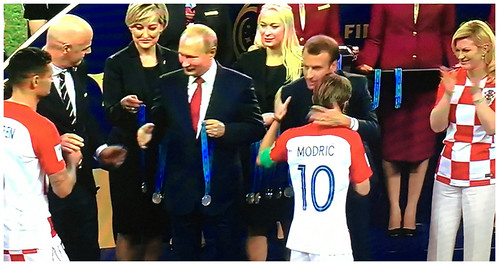 Macron congratulations to Modric of the Croatian side