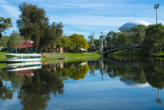 Popeye, Adelaide Oval and the King William Street Bridge (|Sarah|) Tags: southaustralia vibrancy riverbank landscape canon 1200d river vibrant photography australia popeye boat adelaideoval rivertorrens adelaide colourful canon1200d