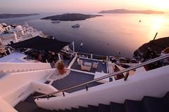 Thira (moniq84) Tags: fira thira santorini vulcano palea kameni island greece sea light people seascape step steps sunset grey white red pink boat boats ships crociera nave sigma