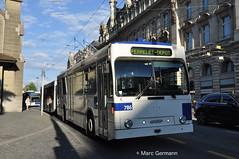 Trolleybus NAW BT-25 n°786, à destination de Perrelet-Dépôt. © Marc Germann (Marc Germann) Tags: trolleybus naw bt25 bus remorques convois retrobus hesskiepe hesskièpe nawhess nawhesssiemens nawfbw rétrobus par brise routes arbres autobus lions city articulation man hess transports publics tl lausanne