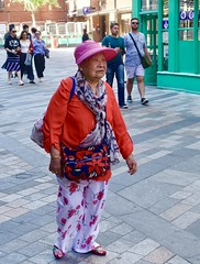 Soho - people in red - 2 (Yekkes) Tags: chinese woman elderly senior experience hat london soho chinatown city urban street old mature red