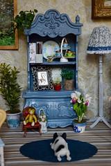 Blue Bookshelf (Girl Least Likely To) Tags: miniatures rement dollhouse dollscene dollroom diorama livingroom etsy mattel sindyfurniture junquedollboutique butterflyhousedecor artandminisbyerika dollboxstore sandssweetminis florenceandtaylor elenashowroom sugarbabylove mrz