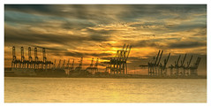 Hafenkrane (fotoerdmann) Tags: deutschland germany abendrot sunset winter elbe hafen hamburg fotoerdmann