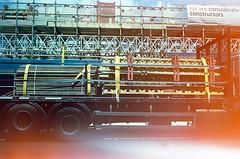 img215 (Gaelle Monin) Tags: islington leicar62 portra400 constructionsite homedevelopment lightleak scaffolding truck