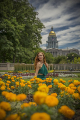 Flower Bed (Luv Duck - Thanks for 13M Views!) Tags: select ali redhead redhair flowers denver downtowndenver civiccenterparkdenver model modeling capitol denvercapitol