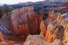Bryce Canyon - Steep Down Hill (Drriss & Marrionn) Tags: travel utah usa landscape landscapes mountains desert rock rockformation ridge cliff cliffs mountainside canyon brycecanyon red sand mountain snow nature trees forest brycecanyonnationalpark frameitlevel01