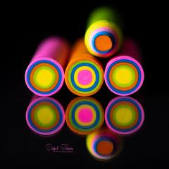 Happy Colors (Inky-NL) Tags: geometric geometrisch macromondays erasers eraser gum abstract reflection circles blackbackground pencil ingridsiemons©2018 vibrant colors colours bright felgekleurd hmm macro fujixt2 fuji60mmf24 texture round vivid