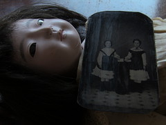 SCRAGGLY_gofun ichimatsu (Fuji Toy?)_1929 & tintype photograph (leaf whispers) Tags: tintype photo photograph daguerreotype ambrotype victorian georgian gofun doll ichimatsu scary ningyo japan japanese bisque vintage antique creepy freaky horror weird sinister poupee ancienne realhair humanhair kawaii goth chiaroscuro haunted ghost old toy obon kimono bighead bigeyes witch primitive outsider art folk hina obsolete twins schoolgirl fetish mementomori death mourning steampunk gothic uniform school privateschool lolita roleplay cosplay dark strange mysterious gloomy shadows shadow buy forsale auction spooky girl woman child teen anime coffin spirit