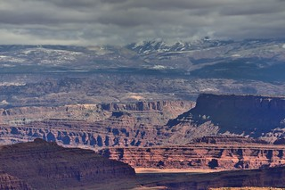 The Distant La Sal Mountains While Taking in View Across Canyonlands National Park