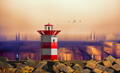 The sea used to be over there (Wim Koopman) Tags: scheveningen thehague digital art northsea holland netherlands dutch pier flowing glowing fantasy