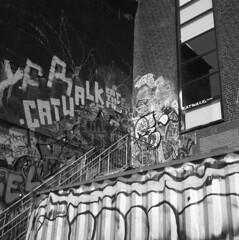 Upstairs (rotabaga) Tags: sverige sweden göteborg gothenburg svartvitt lomo lomography lubitel166 twinlens blackandwhite bw bwfp mediumformat mellanformat 120 6x6 fomapan klippan rödasten