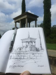 A monument of rest - Oakland Cemetery - Atlanta, Georgia (schunky_monkey) Tags: illustration art pleinair penandink ink pen fountainpen journal drawing draw sketchbook sketching sketch columns architecture monument restingplace cemetery georgia atlanta oaklandcemetery