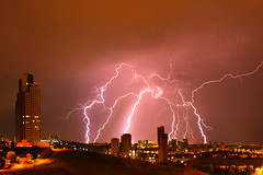 Flash and city (Ömer Ünlü) Tags: flash strike thunderstorm storm thunder rain clouds weather fear wind city cityscape nature planet dark amazing interesting lighting light ömerünlü ankara turkey