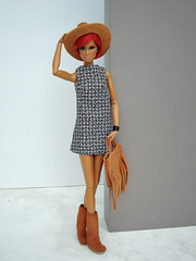With hat and boots (Deejay Bafaroy) Tags: fashion royalty fr integrity toys doll puppe dominique makeda evening blossom barbie portrait porträt redhead nufacebody red rot brown braun black schwarz hat hut boots stiefel bag tasche dress kleid poikapoi olgaomi