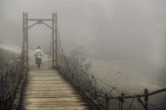 Through the mist. (juliajjphotography) Tags: bridge fog mist sapa vietnam travel journey mood life love happy trip world horizon people embrace dream moody ambient art artistic live smile traveler dreaming