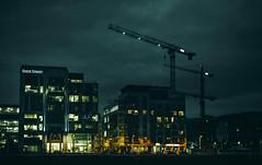 (Shixthy) Tags: cranes urban construction night lights green orange nikkor nikon contrast dublin ireland