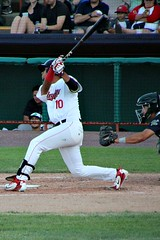 AT THE PLATE (MIKECNY) Tags: swing hit batter nypennleague catcher tricityvalleycats minorleague astros