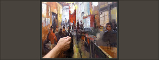 CAFETERIA-PINTURA-CAFETERIAS-PINTURAS-INTERIOR-INTERIORES-PERSONAJES-ATMOSFERA-FOTOS-PINTANDO-DETALLES-ESPATULA-ARTISTA-PINTOR-ERNEST DESCALS