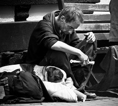 Asleep on the job (Neil. Moralee) Tags: neilmoralee man dog homeless rough sleeping begging busker tramp penniless broke music recorder harsh contrast teignmouth devon uk statistics poverty pity tired worout exhausted drug drugged drugs black white bw bandw blackandwhite mono neil moralee nikon d7200 noir comentarty social whistle flute woodwind instrumwnt unshaven dirty dark depressed depression desperate despair unemployed sad life people ruins deserted