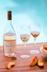 Chilling by the pool (Desertbloom Photography) Tags: foodie wino peaches summer theinspiredtable desertheat poolside manualexposure metering 85mm18 nikkor nikonf100 whisperingangels chilledwine foodphotography flatlay ektar100