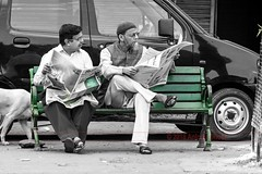 Comparing Notes (Anindo Ghosh) Tags: delhi newspaper morning street dainikjagaran morningritual streetphotography selectivesaturation divergentperspectives divergent hindu muslim india indian hindi urdu