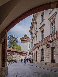 Looking Towards The Florian Gate (Krakow Old Town) (Cross Process) (Olympus OM-D EM1-II & m.Zuiko 12-100mm f4 Pro Travel-Zoom)