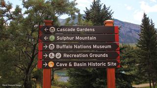 Directional Sign in Banff City Park, Banff, Alberta, Canada