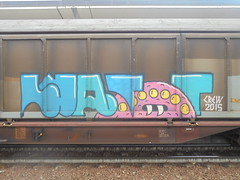 1257 (en-ri) Tags: watt crew 2015 train torino graffiti writing treno merci freight rosa azzurro mostro monster